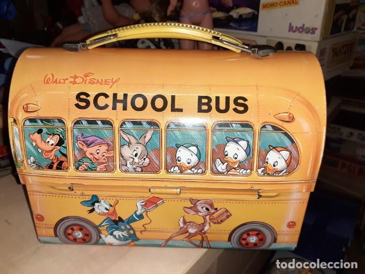 Juguetes antiguos de hojalata: Cabás infantil,cartera escolar,Walt Disney School Bus.Hojalata años 60,70.Aladdin USA. - Foto 3 - 194963958