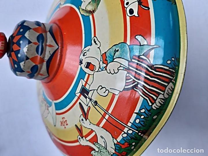 Juguetes antiguos de hojalata: MFZ - AÑOS 40 - ANTIGUO TROMPO - PEONZA GRANDE DE ESPIRAL EN HOJALATA - GERMANI - 20 CM - PERFECTO - Foto 16 - 195261342