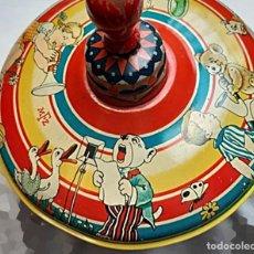 Juguetes antiguos de hojalata: MFZ - AÑOS 40/50 TROMPO - PEONZA ANTIGUA GRANDE ESPIRAL DE HOJALATA - GERMANI 20 CM - PERFECTO. Lote 195261342