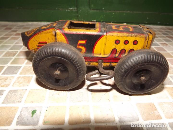 Juguetes antiguos de hojalata: Marx ,coche N 5 de carreras, a cuerda,REf 1015 - Foto 2 - 195364008