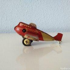 Brinquedos antigos de folha-de-Flandres: DISTLER ALEMANIA, ANTIGUO AVIÓN HOJALATA Y CUERDA. Lote 196355433