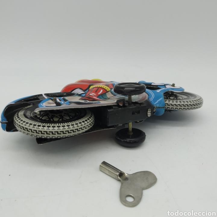Juguetes antiguos de hojalata: Moto de hojalata años 90 MS TOYS ref 376 China, reproducción de la Alemana TIPCO, TCO - Foto 3 - 202820250