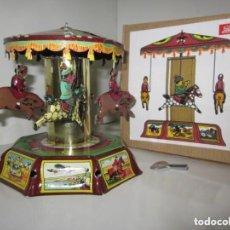 Juguetes antiguos de hojalata: JUGUETE HOJALATA PAYA, TÍO VIVO, CARRUSEL REPRODUCCION 1905 A ESTRENAR. Lote 204334010
