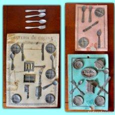 Brinquedos antigos de folha-de-Flandres: CONJUNTO UTENSILIOS DE COCINA EN HOJALATA. AÑOS 1940.. Lote 206350613