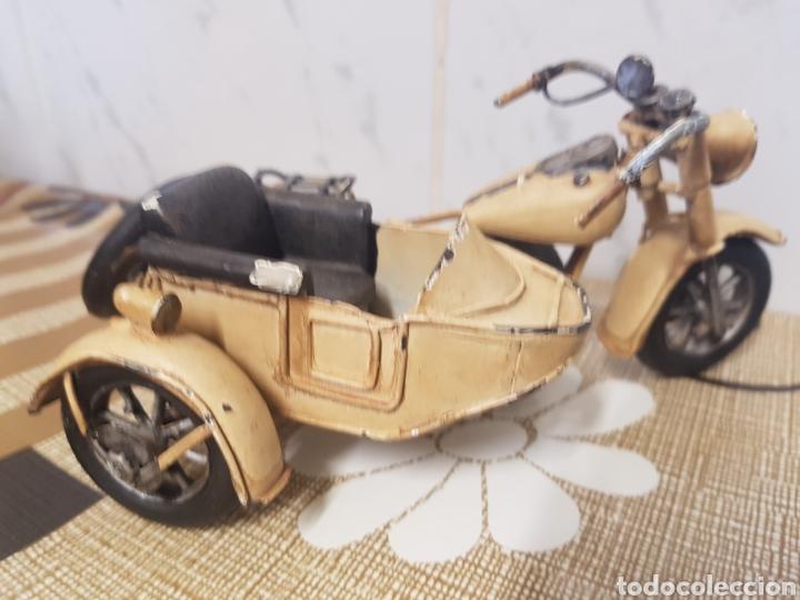 Juguetes antiguos de hojalata: Moto de juguete Hojalata con sidecar - Foto 5 - 206519565