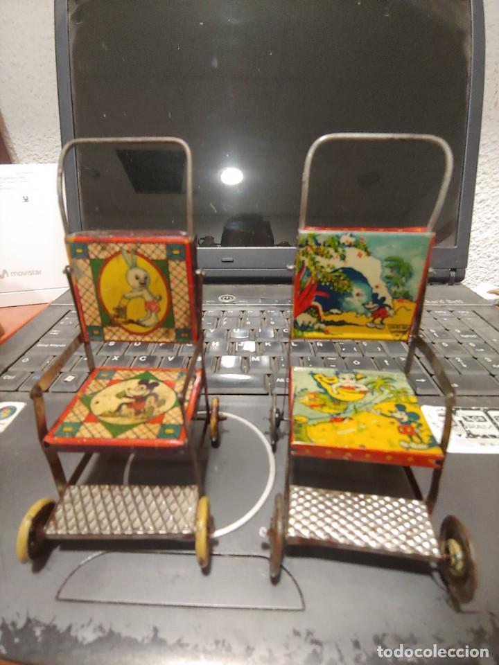 DOS SILLAS MICKEY DE RICO HOJALATA AÑOS 20-30 (Juguetes - Juguetes Antiguos de Hojalata Españoles)