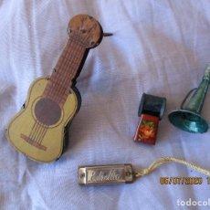 Juguetes antiguos de hojalata: LOTE 4 JUGUETES. GUITARRA CARRACA, PITO, ARMONICA, Y TROMPETA. (TODOS FUNCIONAN CORRECTAMENTE). Lote 210599196