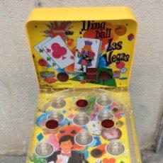 Juguetes antiguos de hojalata: SUPER DING-BALL LAS VEGAS -BILLAR EN METAL Y PLÁSTICO DECORADO ,PATAS PLEGABLES.. Lote 211663056