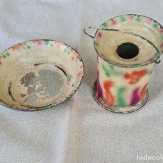 Juguetes antiguos de hojalata: CUBO Y PALANGANA DENIA. AÑOS 40. Lote 214769821