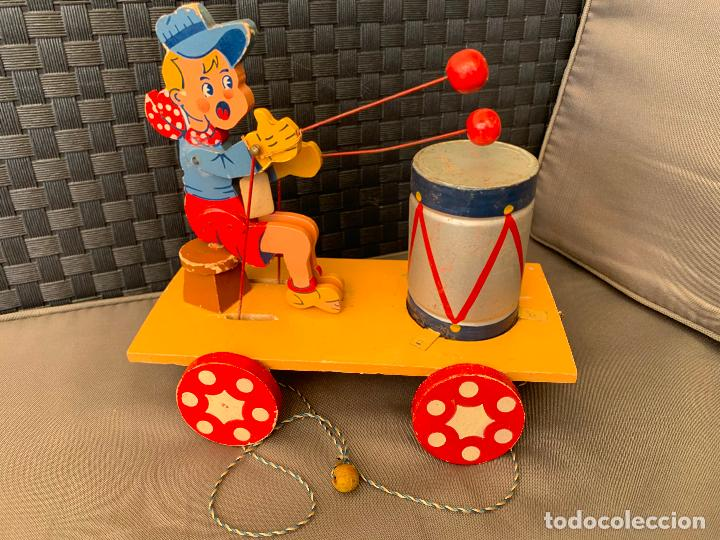 Juguetes antiguos de hojalata: JUGUETE DE ARRASTRE MADERA DE DENIA AÑOS 40-50 - Foto 2 - 215910820
