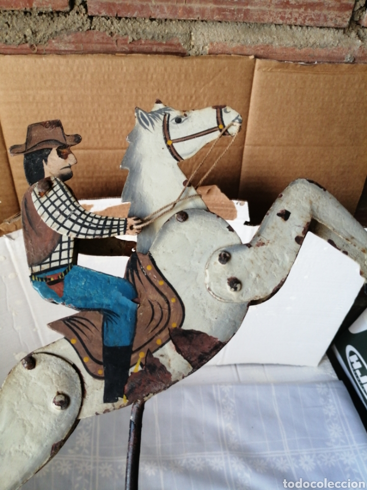 Juguetes antiguos de hojalata: Antiguo juguete caballo de hierro - Foto 5 - 217542373