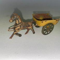 Giocattoli antichi di latta: CABALLO CON CARRO DE LATA.. Lote 222561648