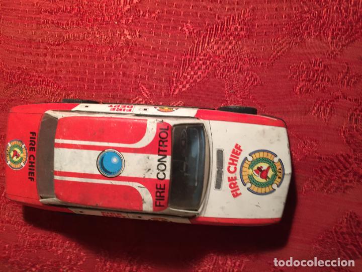 Juguetes antiguos de hojalata: Antiguo coche de juguete marca Román Fire Chief fire control años 70 - Foto 3 - 224904528