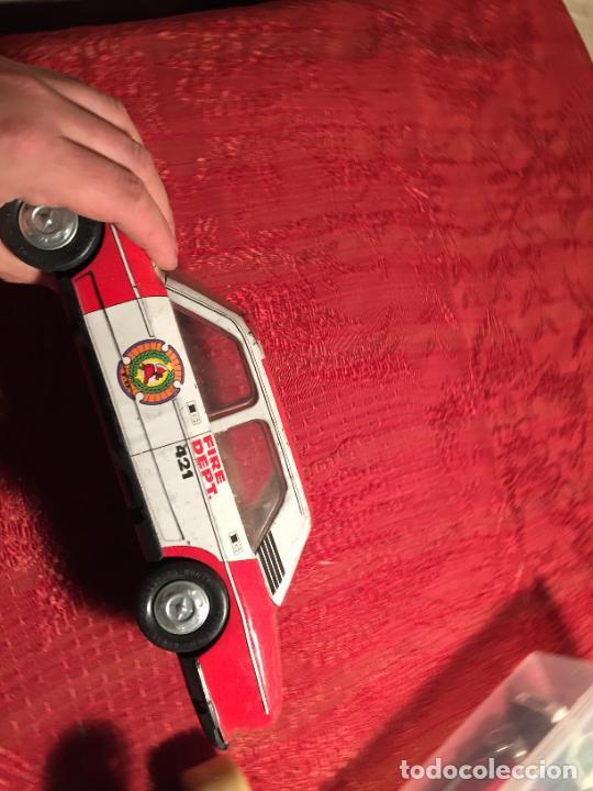 Juguetes antiguos de hojalata: Antiguo coche de juguete marca Román Fire Chief fire control años 70 - Foto 8 - 224904528
