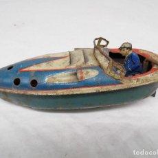 Juguetes antiguos de hojalata: LANCHA ANTIGUA DE JUGUETE, FABRICACIÓN ALEMANA. Lote 228462550