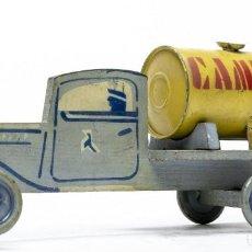 Juguetes antiguos de hojalata: MUY ANTIGUO CAMIÓN EN MADERA Y HOJALATA DE LA EMPRESA CAMPSA- FABRICADO EN DENIA AÑOS 1930.S-. Lote 235905515