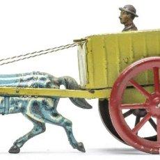 Juguetes antiguos de hojalata: MUY ANTIGUA TARTANA-CARRETA EN HOJALATA PINTADA DE LA CASA RICO-IBI- AÑOS 1930S. Lote 235972505