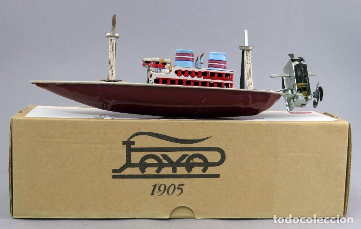 Juguetes antiguos de hojalata: Barco de vapor Paya Juguetes de Antaño RBA hojalata a cuerda con caja No Funciona - Foto 2 - 239437000
