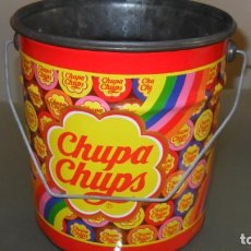 Juguetes antiguos de hojalata: CUBO CHUPA CHUPS. Lote 244636920