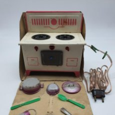 Juguetes antiguos de hojalata: COCINA JUGUETE ELECTRICA HOJALATA ( SELLO SE ENTIENDE DENIA ) VER FOTOS. Lote 244653620