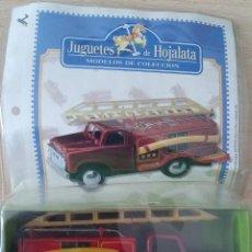 Juguetes antiguos de hojalata: COCHE DE BOMBEROS JUGUETE DE HOJALATA EN SU BLISTER. Lote 245236855
