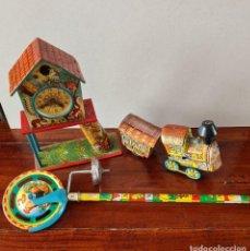 Juguetes antiguos de hojalata: CONJUNTO DE JUGUETES DE HOJALATA. Lote 248174585