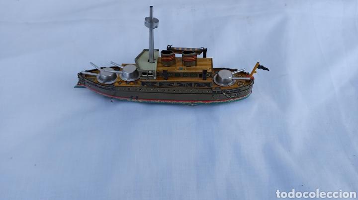 Juguetes antiguos de hojalata: Barco juguete hojalata con llave a cuerda - Foto 2 - 254459895