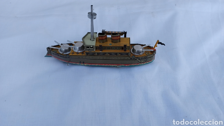 Juguetes antiguos de hojalata: Barco juguete hojalata con llave a cuerda - Foto 3 - 254459895