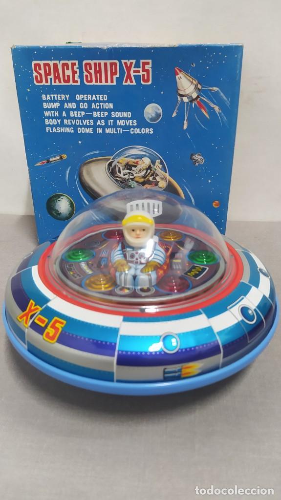 SPACE SHIP X-5 DE MASUDAYA MODERN TOYS CON CAJA, AÑOS 60. FUNCIONANDO (Juguetes - Juguetes Antiguos de Hojalata Internacionales)