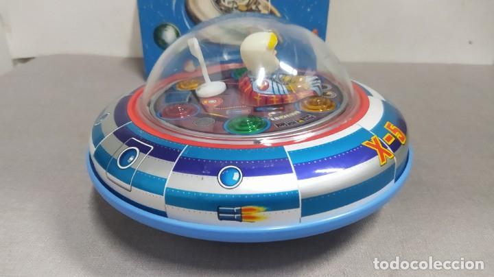 Juguetes antiguos de hojalata: Space ship X-5 de Masudaya modern toys con caja, años 60. Funcionando - Foto 5 - 262451495