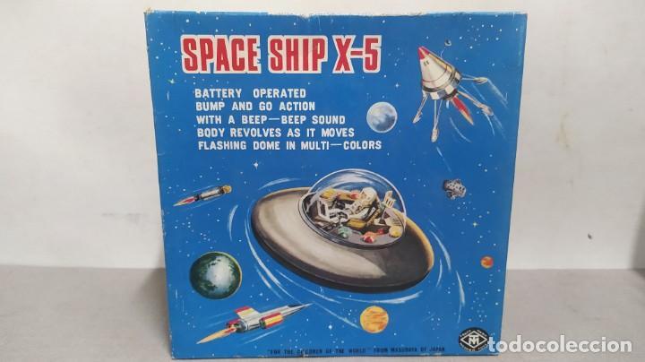 Juguetes antiguos de hojalata: Space ship X-5 de Masudaya modern toys con caja, años 60. Funcionando - Foto 8 - 262451495