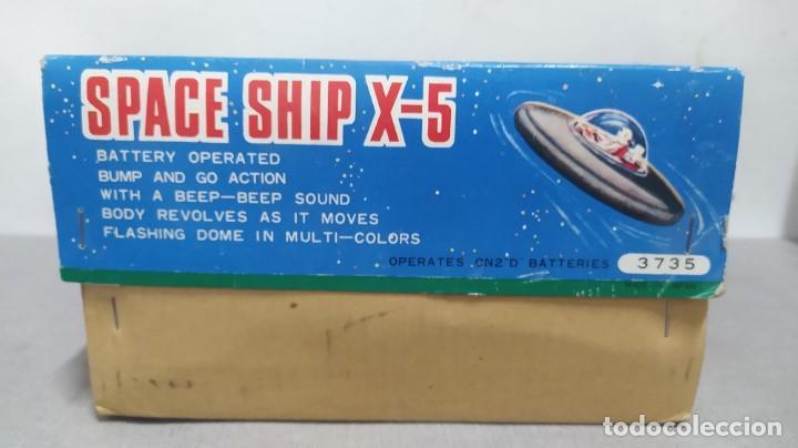 Juguetes antiguos de hojalata: Space ship X-5 de Masudaya modern toys con caja, años 60. Funcionando - Foto 9 - 262451495