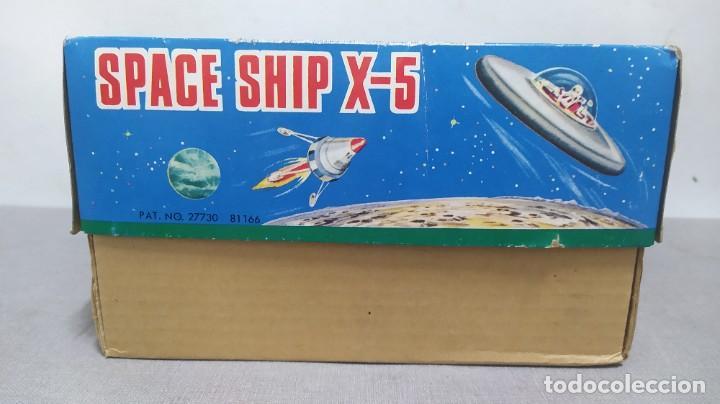 Juguetes antiguos de hojalata: Space ship X-5 de Masudaya modern toys con caja, años 60. Funcionando - Foto 12 - 262451495