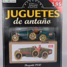 Juguetes antiguos de hojalata: COCHE DE HOJALATA BUGATTI 1930 - JUGUETES DE ANTAÑO - REPRODUCCIÓN PAYA - EL MUNDO - SIN ABRIR. Lote 266940379