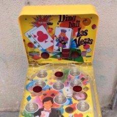 Juguetes antiguos de hojalata: SUPER DING-BALL LAS VEGAS -BILLAR EN METAL Y PLÁSTICO DECORADO ,PATAS PLEGABLES.. Lote 275497568
