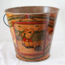 Juguetes antiguos de hojalata: CUBO ANTIGUO DE HOJALATA. Lote 285153333