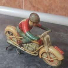 Juguetes antiguos de hojalata: MOTO DE CHAPA AÑOS 40 50 TECHNOFIX GERMANY INMEJORABLE ESTADO FUNCIONANDO RELIQUIA!! ALTA COLECCIÓN. Lote 295273398