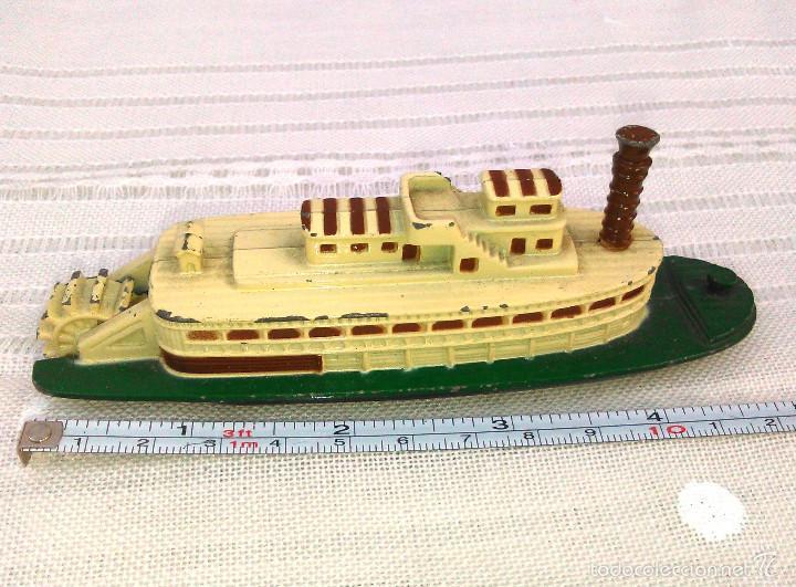 Modelos a escala: Barco de Vapor Ferry a Escala. Pilen. Modelo Naval de Metal en Miniatura. 12cm. Años 80-90. - Foto 3 - 60661707
