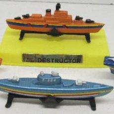 Modelos a escala: LOTE 4 BARCOS EN MINIATURA DESTRUCTOR-CAZA SUBMARINOS-PORTA AVIONES-SUBMARINO, DE MIRA, NUEVOS. Lote 107310787