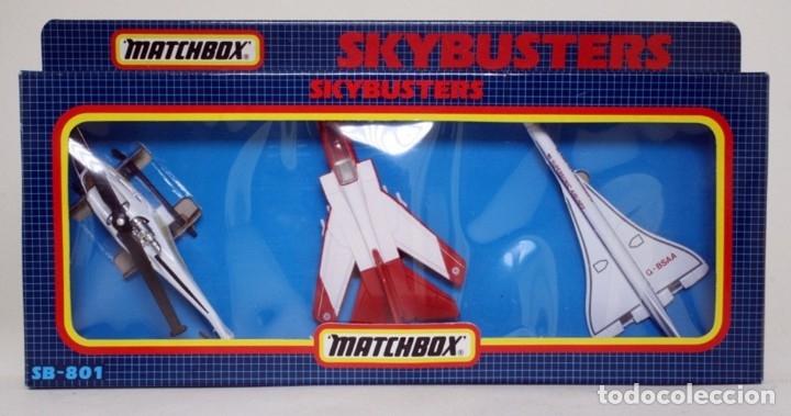 MATCHBOX SB 801 1989 SKYBUSTERS 3 MODELOS DE AVIONES - CONCORDE - MILITAR Y HELICÓPTERO (Juguetes - Modelos a escala)