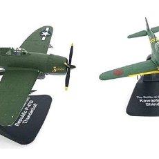 Modelos a escala: KAWANISHI N1K2 SHIONDEN KAI Y REPUBLIC P-47D 1:72 SET 2 AVION CAZA DIECAST ATLAS. Lote 164709241