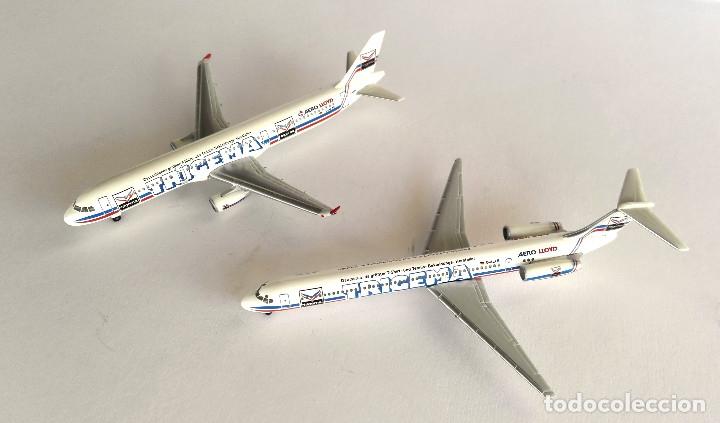 HERPA WINGS 1:500 • AERO LLOYD TRIGEMA SET (BOEING MD-83 + AIRBUS 321-200) • METÁLICOS 1/500 (Juguetes - Modelos a escala)