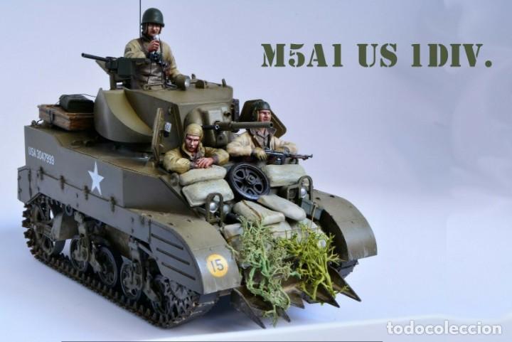 MODELO A ESCALA 1/35 ÚNICO MONTADO Y PINTADO - US M5A1 LIGHT TANK 1ST DIVISION - WWII (Juguetes - Modelos a escala)