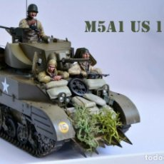Modelos a escala: MODELO A ESCALA 1/35 ÚNICO MONTADO Y PINTADO - US M5A1 LIGHT TANK 1ST DIVISION - WWII. Lote 195330720