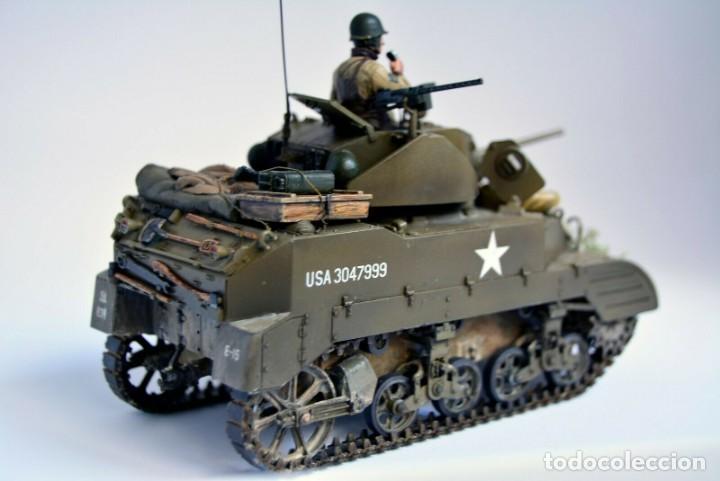 Modelos a escala: Modelo a escala 1/35 único montado y pintado - US M5A1 Light Tank 1st Division - WWII - Foto 6 - 195330720