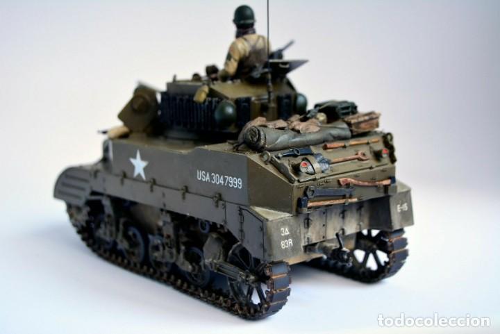 Modelos a escala: Modelo a escala 1/35 único montado y pintado - US M5A1 Light Tank 1st Division - WWII - Foto 8 - 195330720