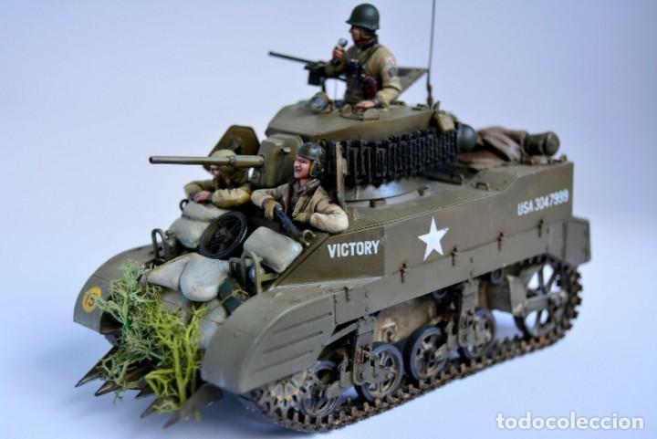 Modelos a escala: Modelo a escala 1/35 único montado y pintado - US M5A1 Light Tank 1st Division - WWII - Foto 10 - 195330720