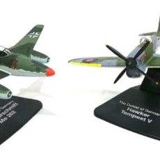 Modelos em escala: 004 MESSERSCHMITT ME 262 + HAWKER TEMPEST V 1:72 SET 2 AVION CAZA DIECAST ATLAS. Lote 199377731