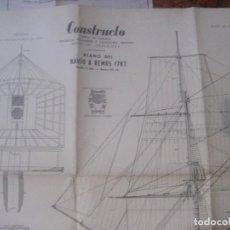 Modelos a escala: CONSTRUCTO - FABRICA EN MENORCA. PLANO DEL NAVIO A REMOS 1787 - DOBLE CARA ARXIU NICOLAU BARCELONA. Lote 223067728