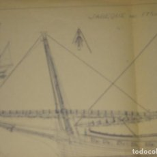 Modelos a escala: PLANO BARCO JABEQUE AÑO 1750 . ARXIU NICOLAU . MUSEO MARITIMO DE BARCELONA. Lote 223068486